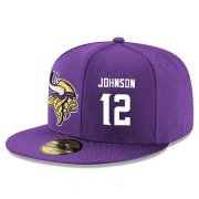 Wholesale Cheap Minnesota Vikings #12 Charles Johnson Snapback Cap NFL Player Purple with White Number Stitched Hat