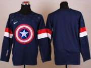 Wholesale Cheap Olympic Team USA Blank Navy Blue Captain America Fashion Stitched NHL Jersey