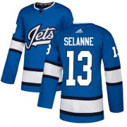 Wholesale Cheap Adidas Jets #13 Teemu Selanne Blue Alternate Authentic Stitched NHL Jersey