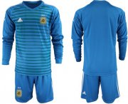 Wholesale Cheap Argentina Blank Blue Long Sleeves Goalkeeper Soccer Country Jersey