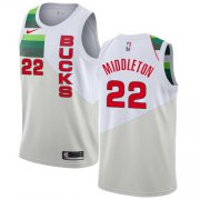 Wholesale Cheap Nike Bucks #22 Khris Middleton White NBA Swingman Earned Edition Jersey