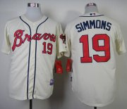 Wholesale Cheap Braves #19 Andrelton Simmons Cream Alternate Cool Base Stitched MLB Jersey