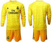 Wholesale Cheap Real Madrid Blank Yellow Goalkeeper Long Sleeves Soccer Club Jersey
