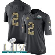Wholesale Cheap Nike Chiefs #2 Dustin Colquitt Black Super Bowl LIV 2020 Men's Stitched NFL Limited 2016 Salute to Service Jersey
