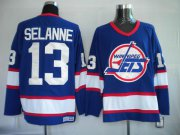 Wholesale Cheap Jets #13 Teemu Selanne Stitched Blue CCM Throwback NHL Jersey