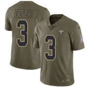 Wholesale Cheap Nike Saints #3 Wil Lutz Olive Men's Stitched NFL Limited 2017 Salute To Service Jersey