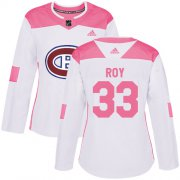 Wholesale Cheap Adidas Canadiens #33 Patrick Roy White/Pink Authentic Fashion Women's Stitched NHL Jersey