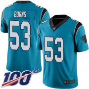 Wholesale Cheap Nike Panthers #53 Brian Burns Blue Alternate Men's Stitched NFL 100th Season Vapor Limited Jersey