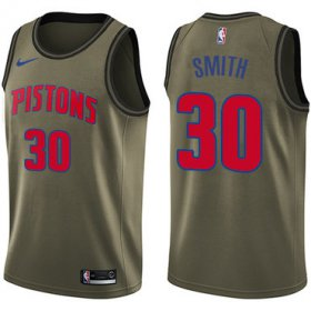 Wholesale Cheap Nike Pistons #30 Joe Smith Green Salute to Service NBA Swingman Jersey
