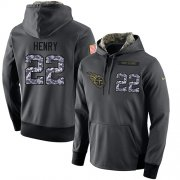 Wholesale Cheap NFL Men's Nike Tennessee Titans #22 Derrick Henry Stitched Black Anthracite Salute to Service Player Performance Hoodie