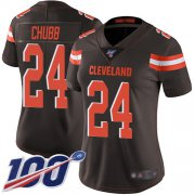 Wholesale Cheap Nike Browns #24 Nick Chubb Brown Team Color Women's Stitched NFL 100th Season Vapor Limited Jersey