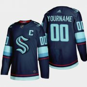 Wholesale Cheap Seattle Kraken Custom Men's Adidas 2021-22 Navy Home Authentic Stitched NHL Jersey