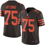 Wholesale Cheap Nike Browns #75 Joel Bitonio Brown Men's Stitched NFL Limited Rush Jersey