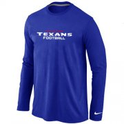 Wholesale Cheap Nike Houston Texans Authentic Font Long Sleeve T-Shirt Blue