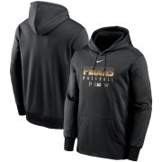 Wholesale Cheap Men's Pittsburgh Pirates Nike Black Authentic Collection Therma Performance Pullover Hoodie