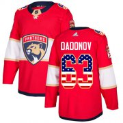 Wholesale Cheap Adidas Panthers #63 Evgenii Dadonov Red Home Authentic USA Flag Stitched Youth NHL Jersey