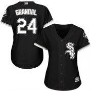Wholesale Cheap White Sox #24 Yasmani Grandal Black Alternate Women's Stitched MLB Jersey