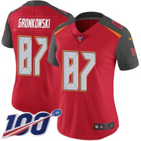 Wholesale Cheap Nike Buccaneers #87 Rob Gronkowski Red Team Color Women\'s Stitched NFL 100th Season Vapor Untouchable Limited Jersey