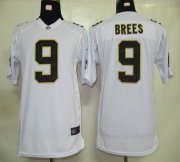 Wholesale Cheap Nike Saints #9 Drew Brees White Youth Stitched NFL Elite Jersey