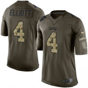 Wholesale Cheap Nike Eagles #4 Jake Elliott Green Youth Stitched NFL Limited 2015 Salute to Service Jersey