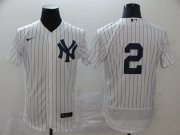 Wholesale Cheap New York Yankees #2 Derek Jeter Men's Nike White Navy Home 2020 Authentic Player MLB Jersey