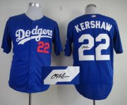 Wholesale Cheap Dodgers #22 Clayton Kershaw Blue Cool Base Autographed Stitched MLB Jersey