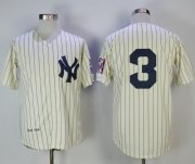 Wholesale Cheap Mitchell And Ness Yankees #3 Babe Ruth Cream Throwback Stitched MLB Jersey