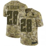 Wholesale Cheap Nike Vikings #28 Adrian Peterson Camo Men's Stitched NFL Limited 2018 Salute To Service Jersey