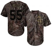 Wholesale Cheap Rockies #55 Jon Gray Camo Realtree Collection Cool Base Stitched Youth MLB Jersey
