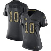 Wholesale Cheap Nike Giants #10 Eli Manning Black Women's Stitched NFL Limited 2016 Salute to Service Jersey