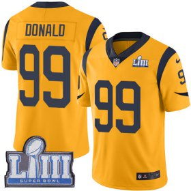 Wholesale Cheap Nike Rams #99 Aaron Donald Gold Super Bowl LIII Bound Men\'s Stitched NFL Limited Rush Jersey