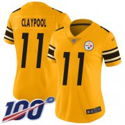 Wholesale Cheap Nike Steelers #11 Chase Claypool Gold Women's Stitched NFL Limited Inverted Legend 100th Season Jersey