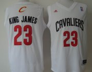 Wholesale Cheap Cleveland Cavaliers #23 King James Nickname White With Black Fashion Jersey