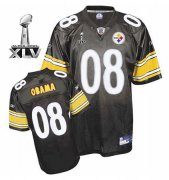 Wholesale Cheap Steelers #8 President Obama Super Black Bowl XLV Stitched NFL Jersey