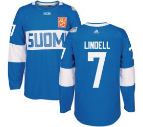 Wholesale Cheap Team Finland #7 Esa Lindell Blue 2016 World Cup Stitched NHL Jersey