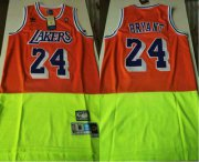 Wholesale Cheap Men's Los Angeles Lakers #24 Kobe Bryant Red Green Split Hardwood Classics Jersey
