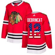 Wholesale Cheap Adidas Blackhawks #12 Alex DeBrincat Red Home Authentic USA Flag Stitched NHL Jersey