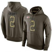 Wholesale Cheap NFL Men's Nike Kansas City Chiefs #2 Dustin Colquitt Stitched Green Olive Salute To Service KO Performance Hoodie
