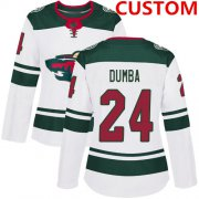 Wholesale Cheap Custom Minnesota Wild White Road Authentic Women's Stitched Hockey Jersey