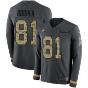 Wholesale Cheap Nike Browns #81 Austin Hooper Anthracite Salute to Service Youth Stitched NFL Limited Therma Long Sleeve Jersey