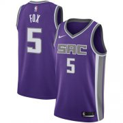 Wholesale Cheap Nike Sacramento Kings #5 De'Aaron Fox Purple NBA Swingman Icon Edition Jersey