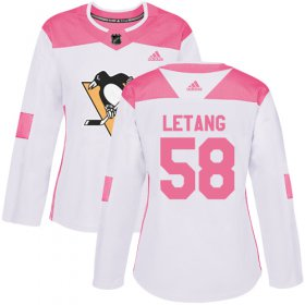 Wholesale Cheap Adidas Penguins #58 Kris Letang White/Pink Authentic Fashion Women\'s Stitched NHL Jersey