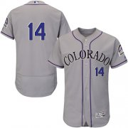 Wholesale Cheap Rockies #14 Tony Wolters Grey Flexbase Authentic Collection Stitched MLB Jersey