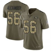 Wholesale Cheap Nike 49ers #56 Kwon Alexander Olive/Camo Men's Stitched NFL Limited 2017 Salute To Service Jersey