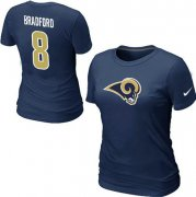 Wholesale Cheap Women's Nike Los Angeles Rams #8 Sam Bradford Name & Number T-Shirt Blue