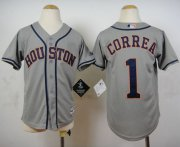 Wholesale Cheap Astros #1 Carlos Correa Grey Cool Base Stitched Youth MLB Jersey