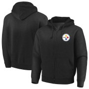 Wholesale Cheap Pittsburgh Steelers Majestic Cap Logo Full-Zip Hoodie Black