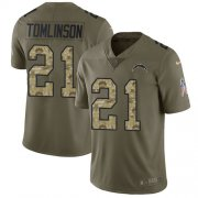 Wholesale Cheap Nike Chargers #21 LaDainian Tomlinson Olive/Camo Youth Stitched NFL Limited 2017 Salute to Service Jersey