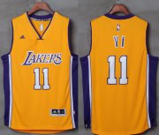 Wholesale Cheap Lakers #11 Yi Jianlian Gold Stitched NBA Jersey