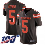 Wholesale Cheap Nike Browns #5 Case Keenum Brown Team Color Youth Stitched NFL 100th Season Vapor Untouchable Limited Jersey